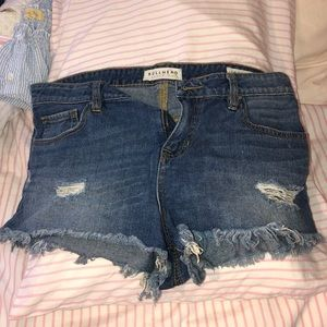 short ripped jeans. low rise.